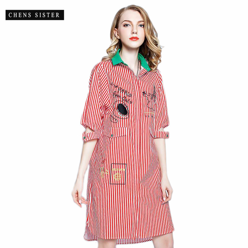 [CHENS SISTER] 2018 Hit Color Straight Slit Half Sleeve Fashion Tide Pockets Turn-down Collar Summer Women Casual Striped Dress
