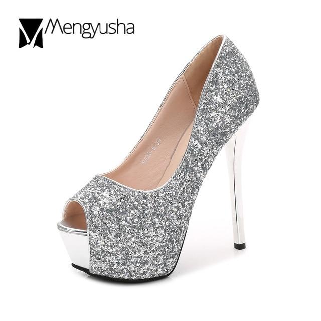 710145f710930 bling bling super high heels shoes sexy peep toe nightclub pumps 12 14cm  black silver glitter platform shoes wedding shoes c623