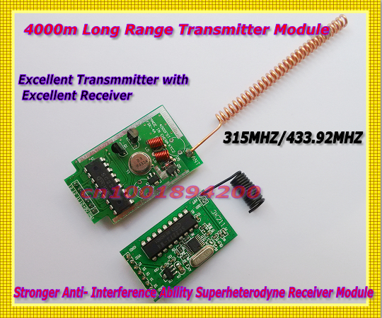 4000m Transmitter Module Long Range + Stronger Anti- Interference Ability Superheterodyne Receiver Module 315/433MHZ Far Transc rxb8 433mhz superheterodyne wireless receiver module perfect for arduino avr