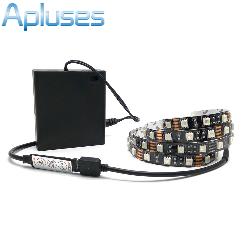 Battery <font><b>LED</b></font> Strip <font><b>5050</b></font> RGB Black PCB <font><b>5V</b></font> IP20 / IP65 Waterproof Tape Lighting DIY Decorative Lamp With Battery Box/RGB Controller image