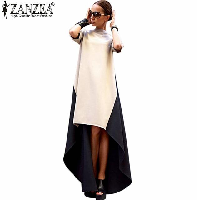 2017 ZANZEA Lente Zomer Dames Trendy Coltrui Onregelmatige Zoom Patchwork Jurk Vrouwen Maxi Lange Jurken Vestidos Plus Size