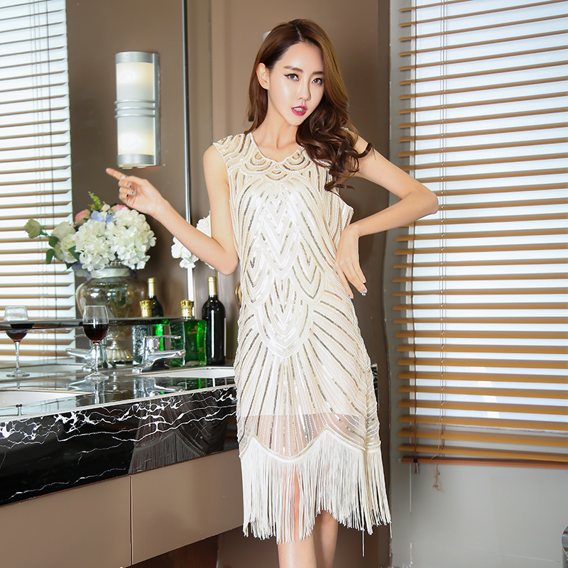 c44ebdf3cac Aliexpress.com   Buy Elegent Ladies Summer Party Dress 2018 Amazon Hot Sale  Sexy Women Vintage Sparkly Black White Sequin Tassel Dresses Vestidos from  ...