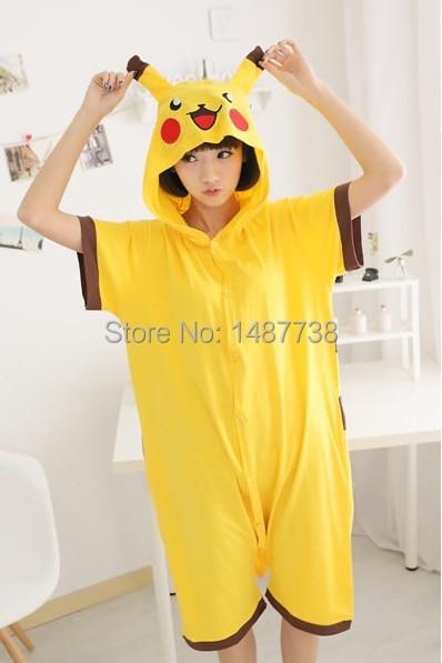 6fec48101e Pikachu Pajamas Animal Onesie Hoodie Pikachu Summer Short Sleeve Costume  Unisex 100% Cotton Pyjamas