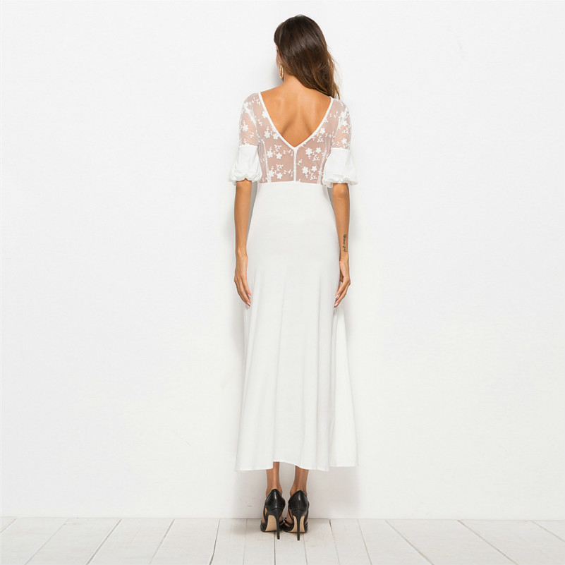 MUXU sexy white lace dress transparent fashion vestidos robe femme long dress online shop clothing summer backless robe longue