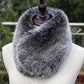 Новые короткие искусственного меха лисы глушитель зима теплая пестрого супер мягкий синий розовый черный короткие искусственного меха воротник мех кролика шарф