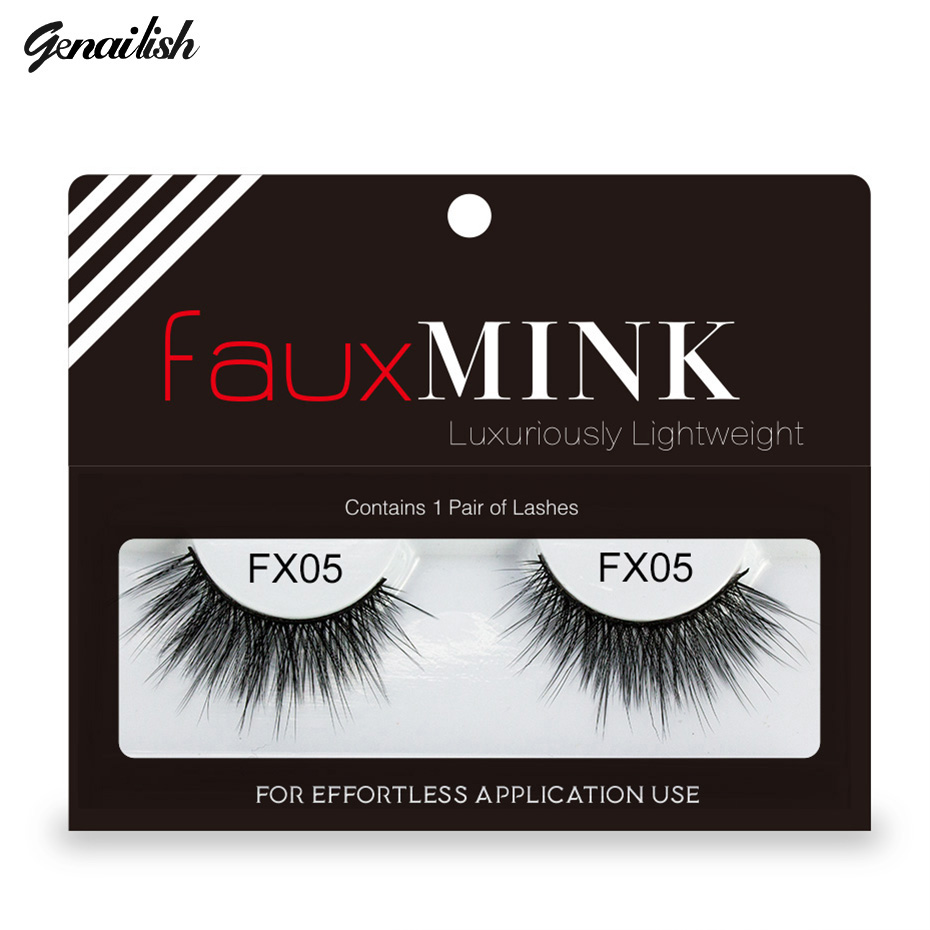 Genailish Faux Mink Eyelashes 3D False Eyelash for makeup Extension Fake Eyelashes Mink Lashes Long Messy cilia Lashes-FX05