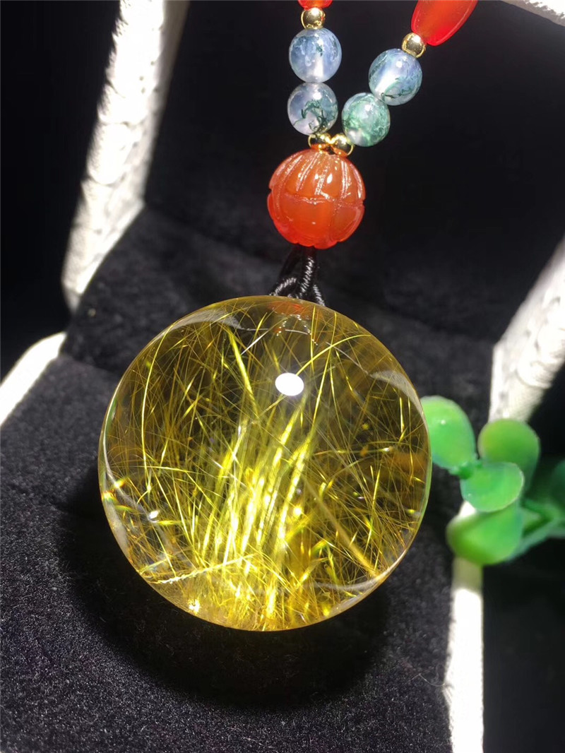 Natural Gold Rutilated Quartz Neckalce Pendant 28mm Ball Shape Woman Man Love Wealthy Lucky Gift Gemstone Luxury Pendants AAAAA