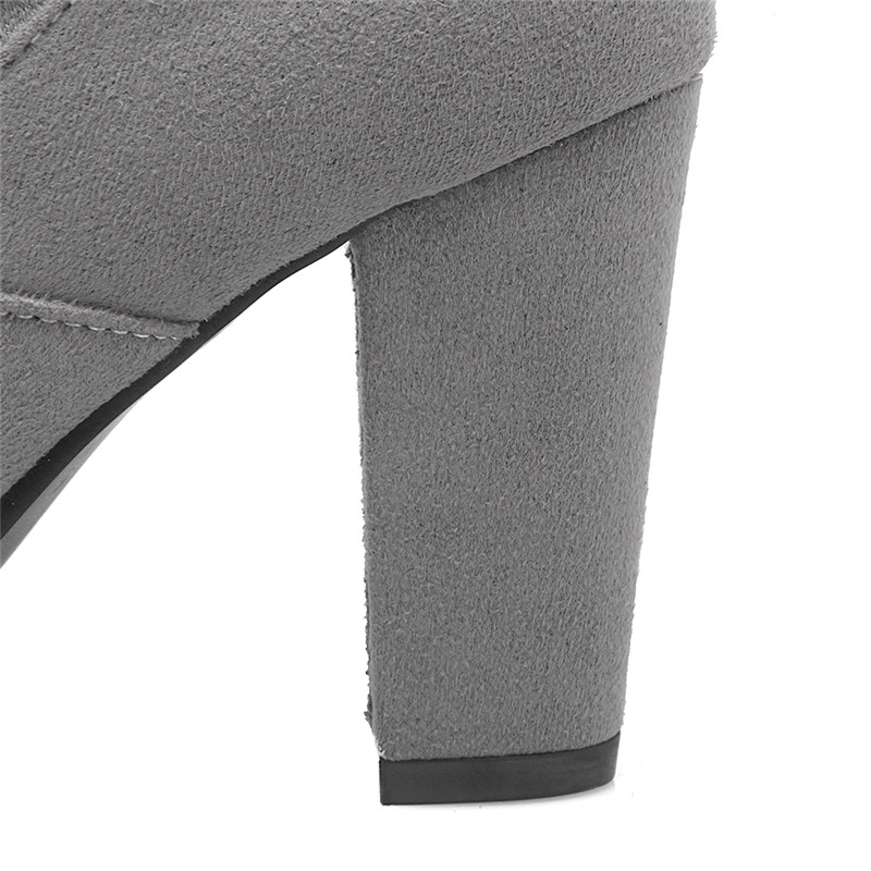MORAZORA Flock solid high heels shoes woman over the knee boots long shoes spring autumn elegant thigh high boots big size 34-43