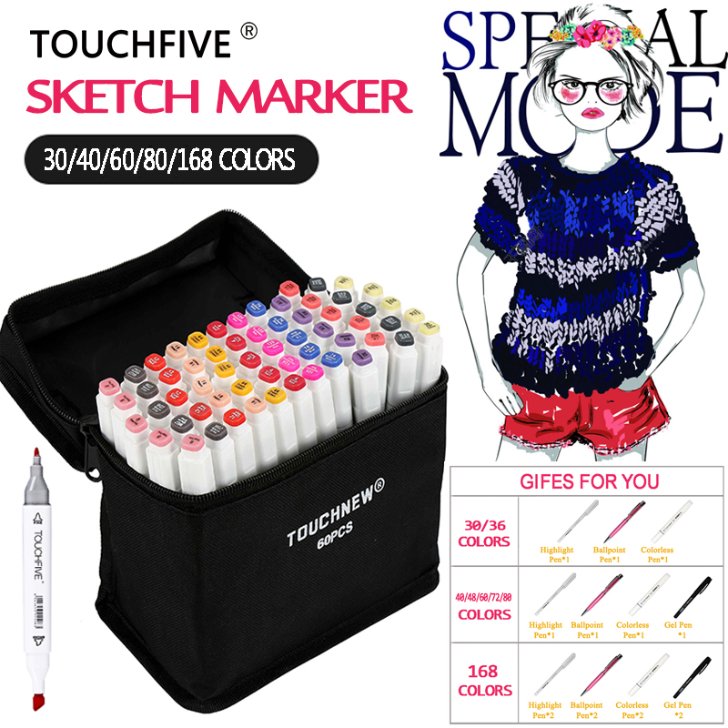 TOUCHFIVE 168 30 40 60 80 Art Markers Drawing Pen Sketch Markers Set Alcohol Based Permanent Marker Art Suppies School touchliit six generation alcohol permanent markers 30 40 60 80 pro graffiti marker for anime building clothes landscape