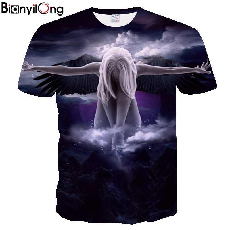 Bianyilong 큰 야드 남자 t 셔츠 새로운 2018 유행 상표 t-셔츠 남자 또는 여자 여름 3d tshirt 인쇄 천사 t 셔츠 정상 tees 미국 크기