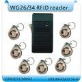 Impermeable 80X42X12mm MiNi sistema de control de acceso WG26/34 125 KHZ RFID reader + 10 unids de cristal llavero