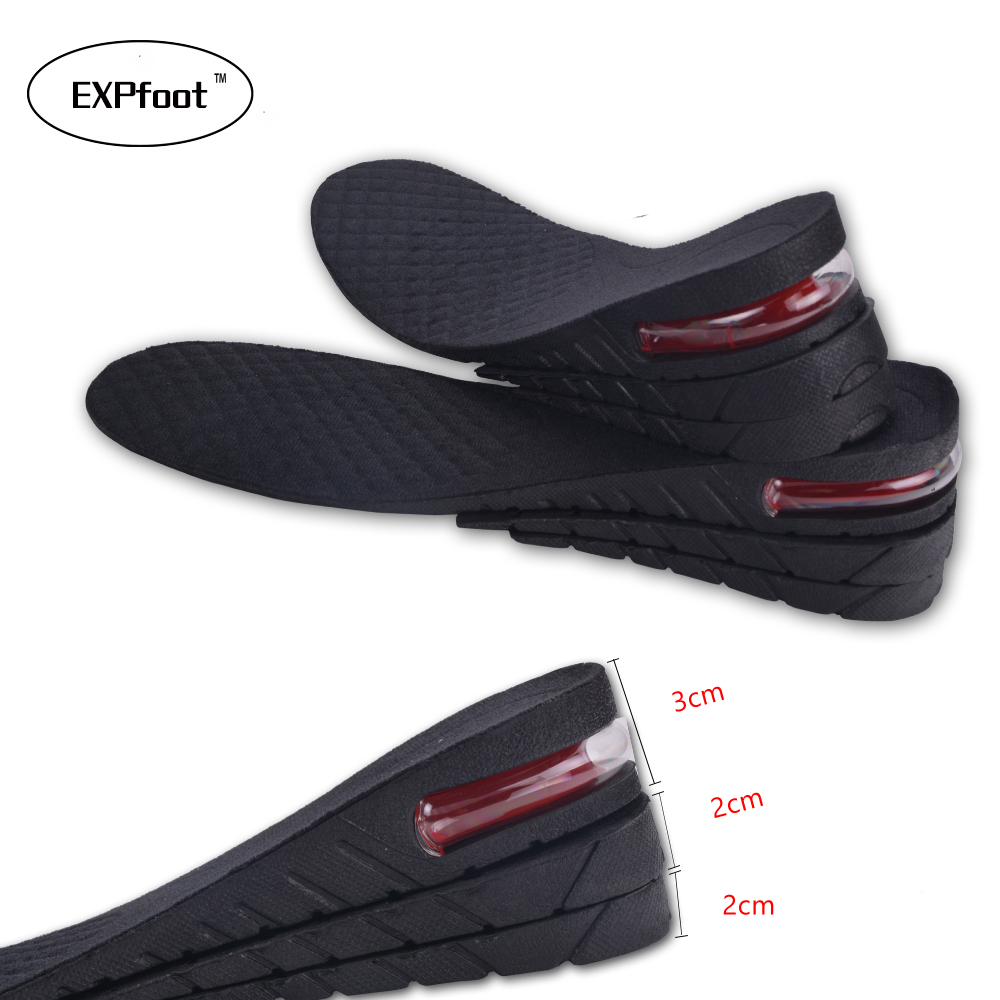EXPfoot  Adjustable 3-7cm 3 Layer Up Air Cushion Heel Insert Increase Height Lift Unisex Shoe Insole height increase Shoe Pad 32