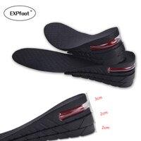 Expfoot調節可能な3-7センチ3層upエアクッションヒール挿入増加身長リフトユニセックス靴インソール身長増加の靴パッド32