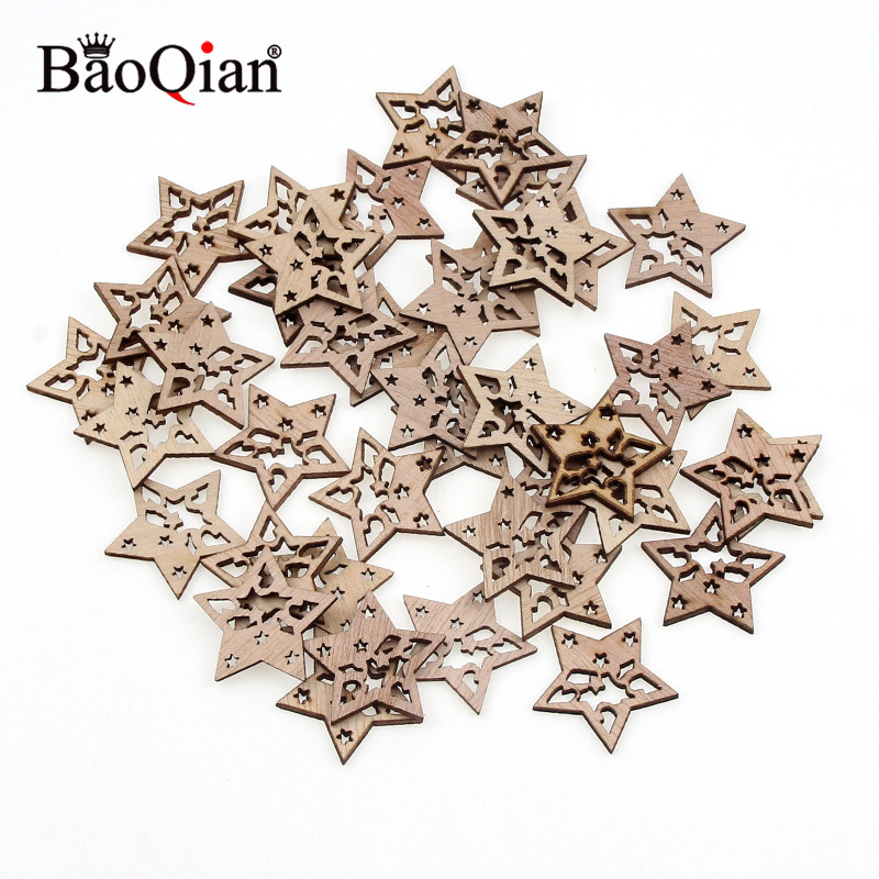 20pcs 28x30mm Wooden Hollow Star Scrapbooking Embellishments DIY Home Craft For Christmas DIY Decoration