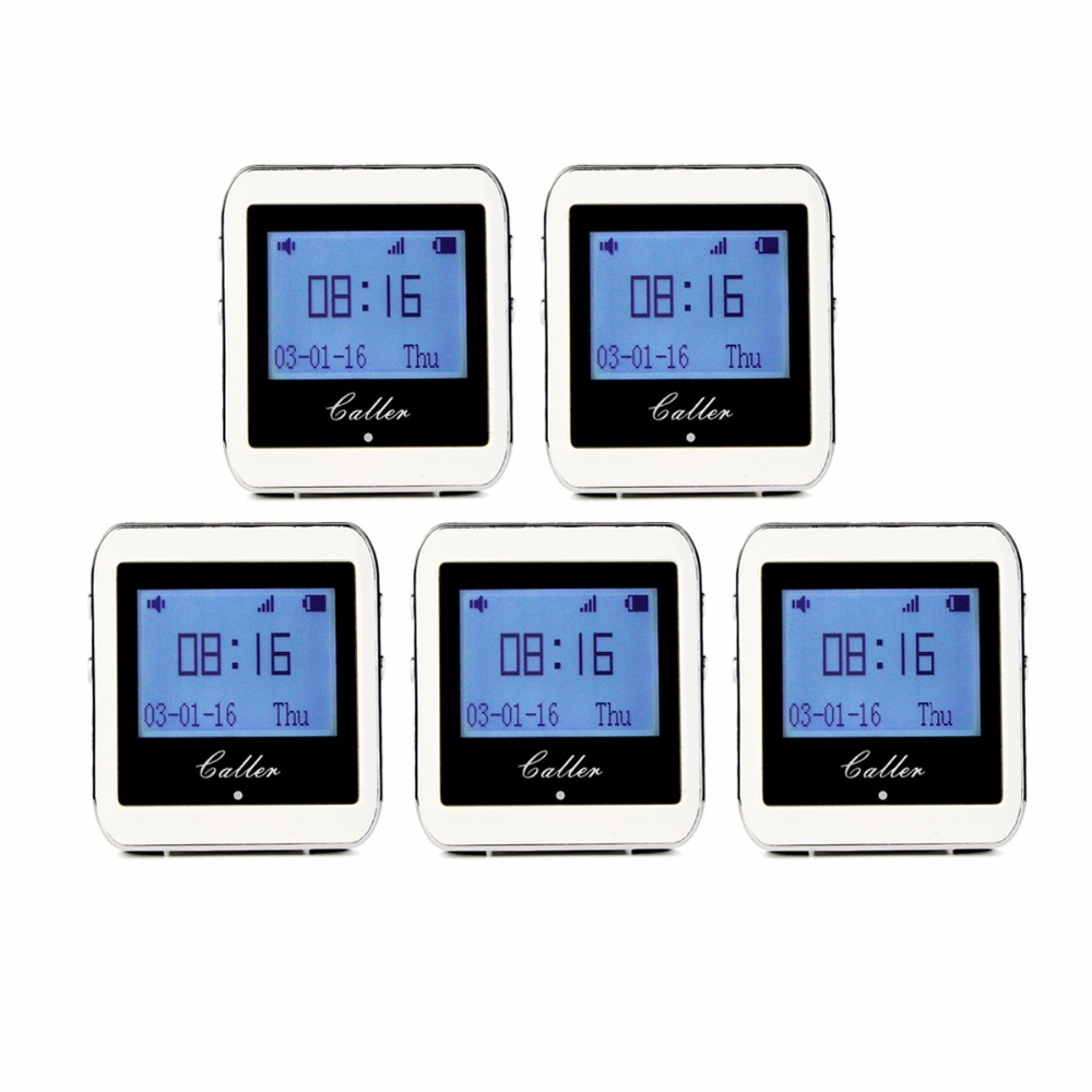 5 pcs 999CH Wireless Restaurant Calling System Watch Wrist Receiver Host Watch Call Pager 433MHz F3288B restaurant pager wireless calling system 1pcs receiver host 4pcs watch receiver 1pcs signal repeater 42pcs call button f3285c