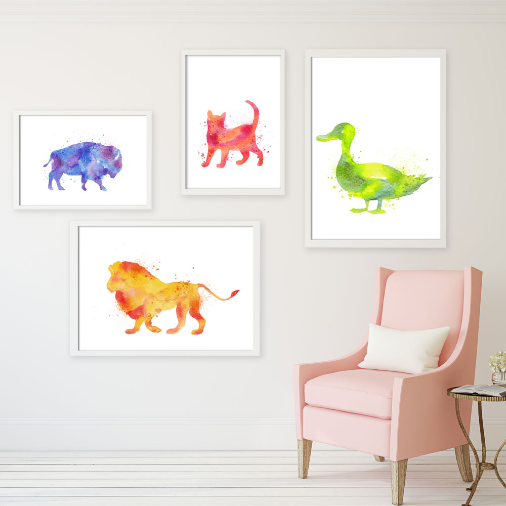 Watercolor Animals Painting Canvas Art Print Poster Funky Mural Nursery Wall Picture Living Room Home