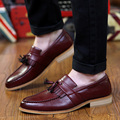 2016 New British Carving Tassel Men Oxfords Shoes Black Brown Wine Red Size 38-43 Fashion Pointed Toe Men's Casual Shoes
