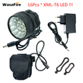 WasaFire 40000 Lumen 16 xT6 LED Fiets Lamp koplamp + 18650 Batterijen Riding Cycling Bike Front Light voor Outdoor rijden