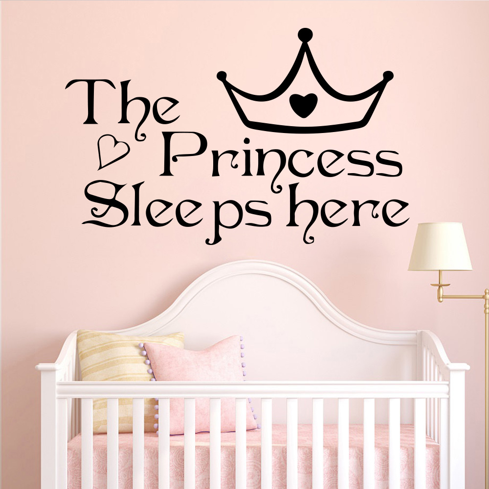 The Princess Sleeps Here Sticker Nursery Vinyl Wall Decal Girls Bedroom Decor LE