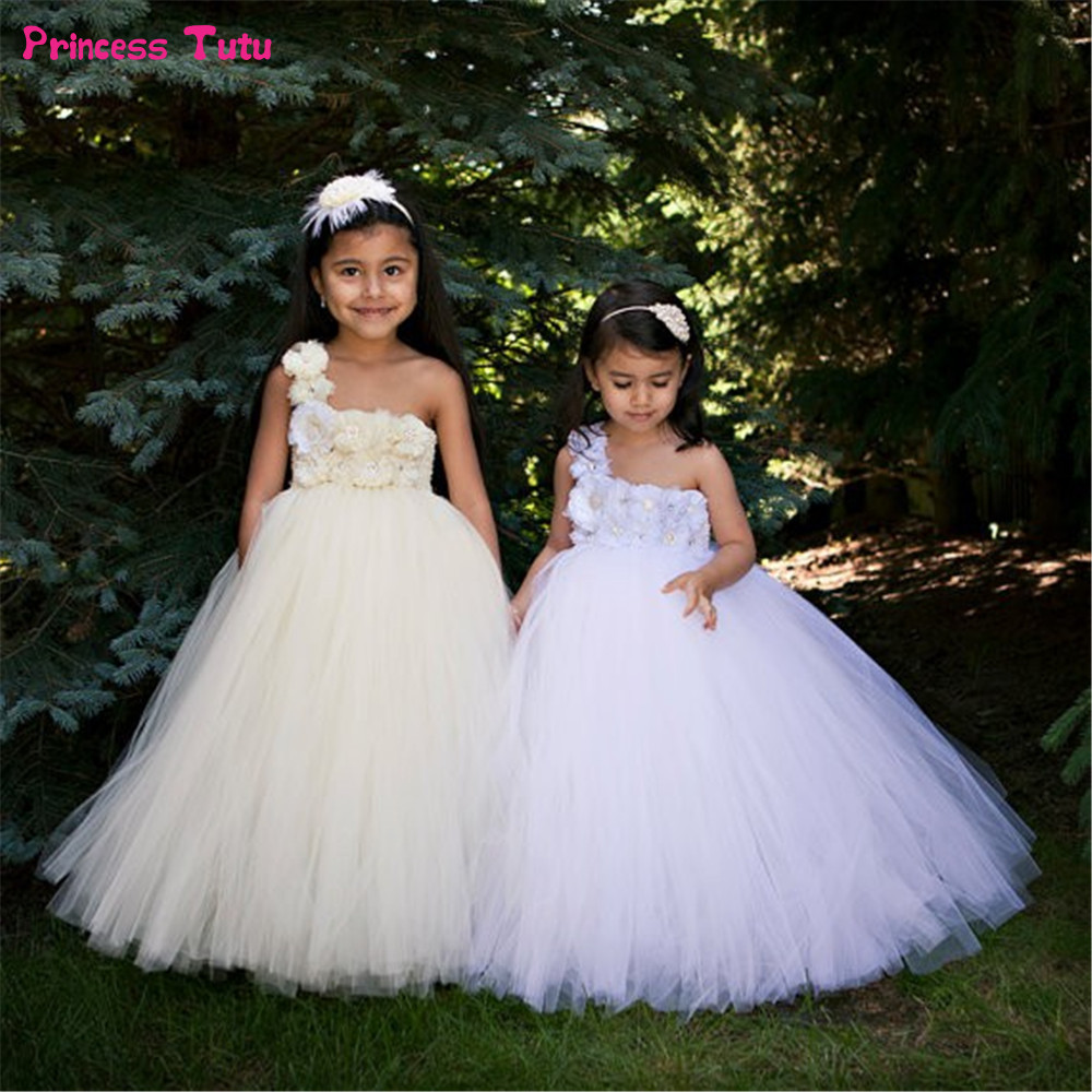 Children Flower Girl Dresses White,Cream Girls Wedding Party Tutu Dress Princess Ball Gown For Girls Kids Tulle Dresses 1-14Year 2018 princess white flower girl dresses for wedding ball gown sweep train girls pageant dresses lace tulle for wedding party