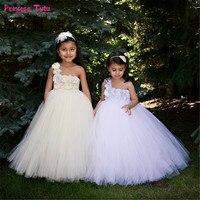 Children Flower Girl Dresses White,Cream Girls Wedding Party Tutu Dress Princess Ball Gown For Girls Kids Tulle Dresses 1 14Year