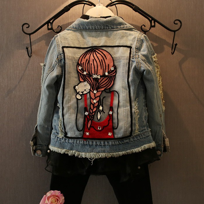 цены New Kids Clothes Children Girls Jackets Cool Kid Long Sleeves Turn-down Collar Buttons Coats Pocket Girl Pattern Denim Outerwear