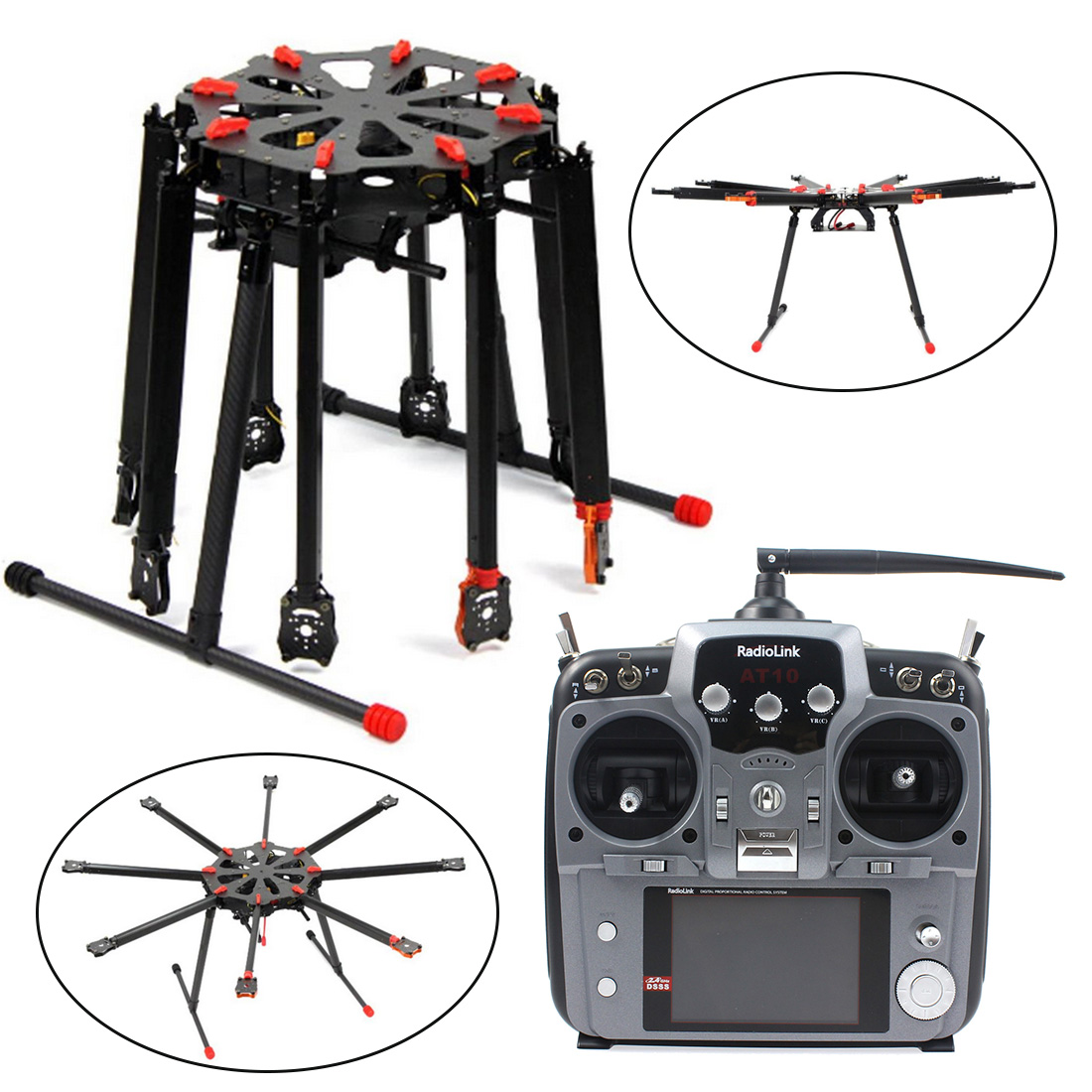 JMT Pro 2.4G 10CH RC 8-Axle Octocopter Drone Tarot X8 Folding PIX PX4 M8N GPS ARF/PNF DIY Unassembly Kit Motor ESC F11270-A/B/C