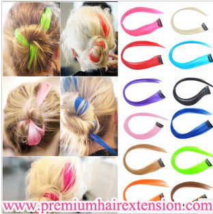 """12 x 16"""" Straight Colored Colorful Clip On In Hair Extension/Hair piece Synthetic clip in extensions 12 colors Free Shipping"""