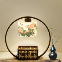 New Chinese Table Lamp Bedroom Bedside Creative Ceramic Chinese Style Hotel Club Living Room Originality New