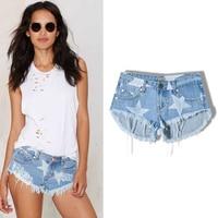 2017 New Fashion Summer Beach Club Type Women Super Short Cotton Hot Pants Star Print Tassel