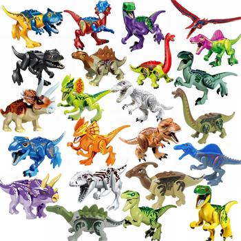 Locking Blocks Jurassic Dinosaurs Tyrannosaurus Rex Wyvern Velociraptor Stegosaurus Building Blocks Toys For Children Dinosaur 1