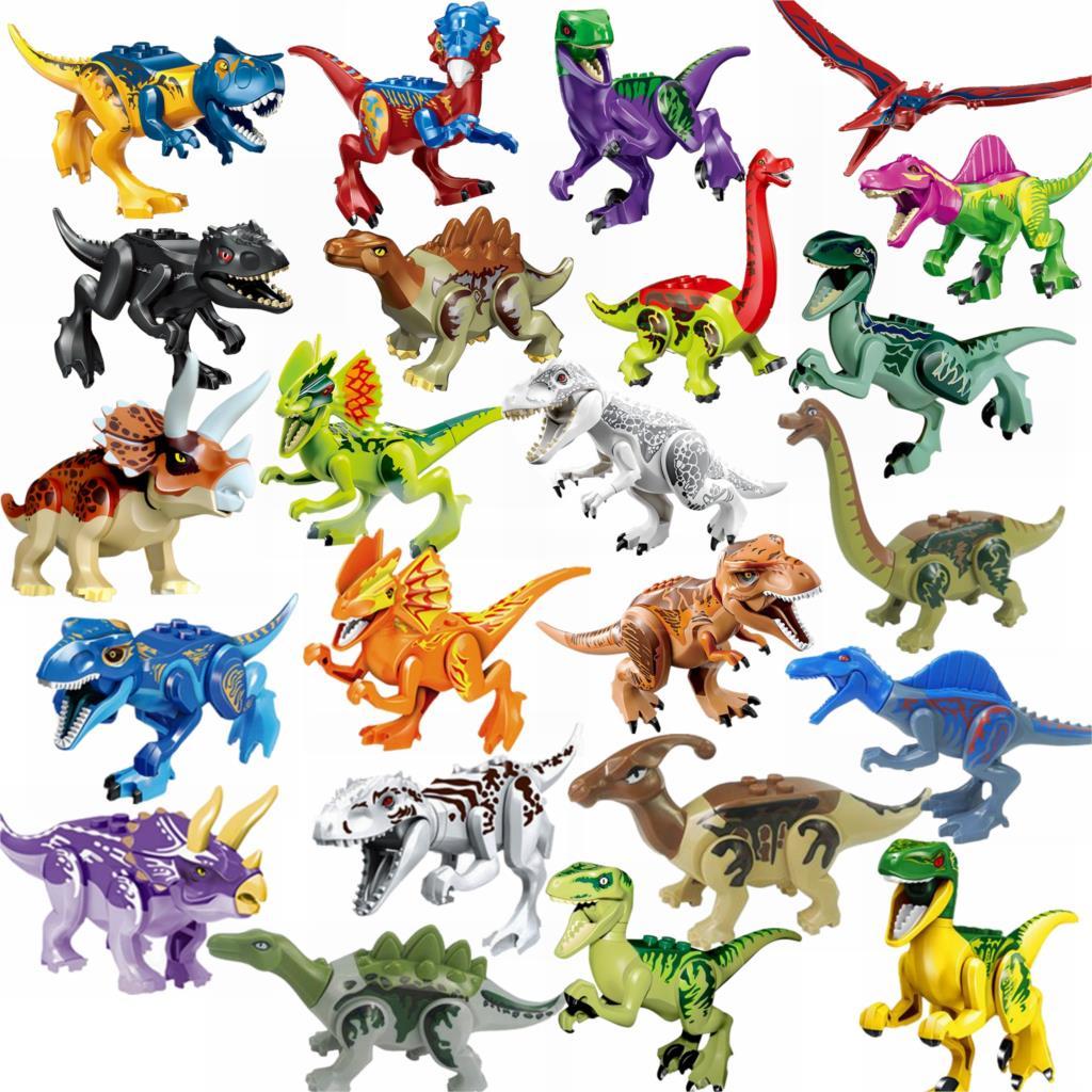 Kilitleme blokları Jurassic dinozorlar Tyrannosaurus Rex Wyvern Velociraptor Stegosaurus oyuncak inşaat blokları çocuklar için dinozor