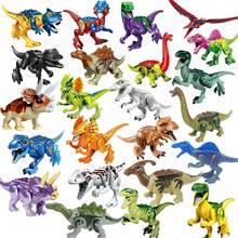 Bloques de bloqueo para niños, dinosaurios del Jurassic, Tiranosaurio Rex, Wyvern, Velociraptor, Stegosaurus, Juguetes de bloques de construcción