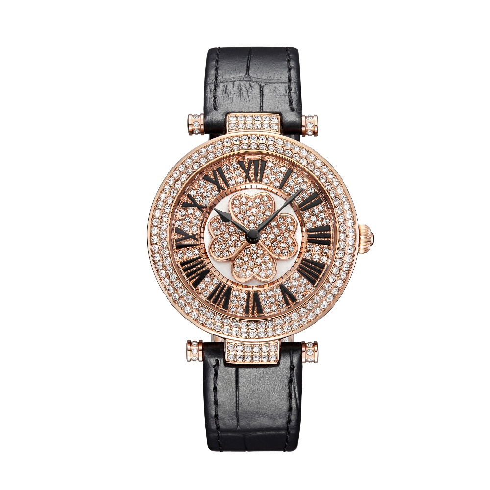 PB Brand Watch Women Luxury Austria crystal fashion Ladies Wristwatch Genuine Leather Water Proof Wamen Watch