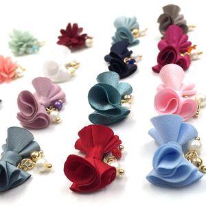 Тканевый галстук-бабочка, 5 шт., 3D украшения для дизайна ногтей, съемный магнитный с жемчужной подвеской, модные аксессуары для маникюра