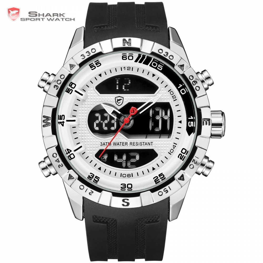 Hooktooth SHARK Sport Watch LCD Auto Date Alarm Silicone Band Stopwatch Dual Time Mens Relogio Quartz Digital Wrist Watch /SH595 shark sport watch dual time auto date