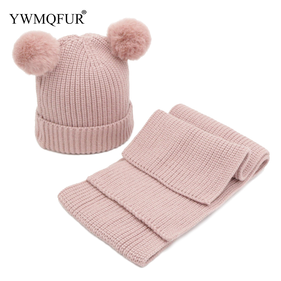 Autumn Winter Knitted Hat Scarf Sets For Kids Cotton Solid Color 1 To 2 Years Old Children Caps Scarves 2018 New Arrival YWMQFUR