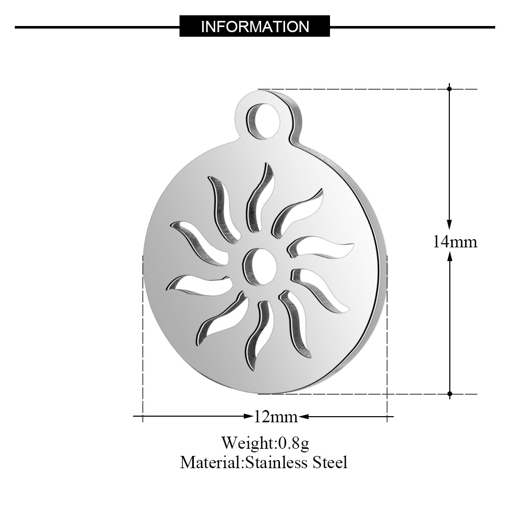 10pcs/lot Grace Moments Stainless Steel High Polish Hollow Sun Pedant Charms For DIY Jewelry Making Accessories