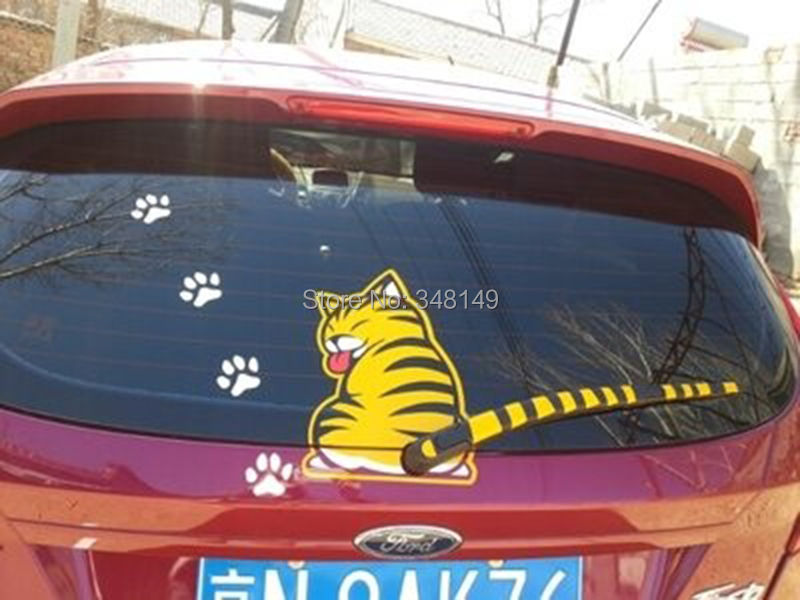 Aliauto Biltillbehör Cat Moving Tail Window Wiper Sticker Bakre vindruta dekaler för Chevrolet Cruze Ford Focus VW golf 5 6 7