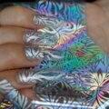 Enfriar Plata Brillo de Uñas Foil Franja Flor Hojas Transparentes Pegamento de Uñas Transferencia Etiqueta Engomada DIY Material SY657