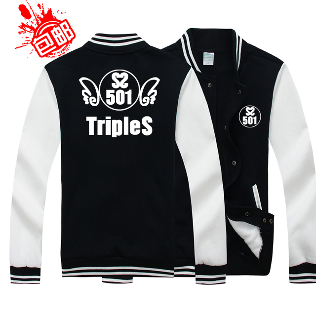 SS501 Kim Hyun Joong and Kim Hyun Joong around the Baseball Jacket clothes Sweatshirts coat Thicken Hoodies Baseball uniform