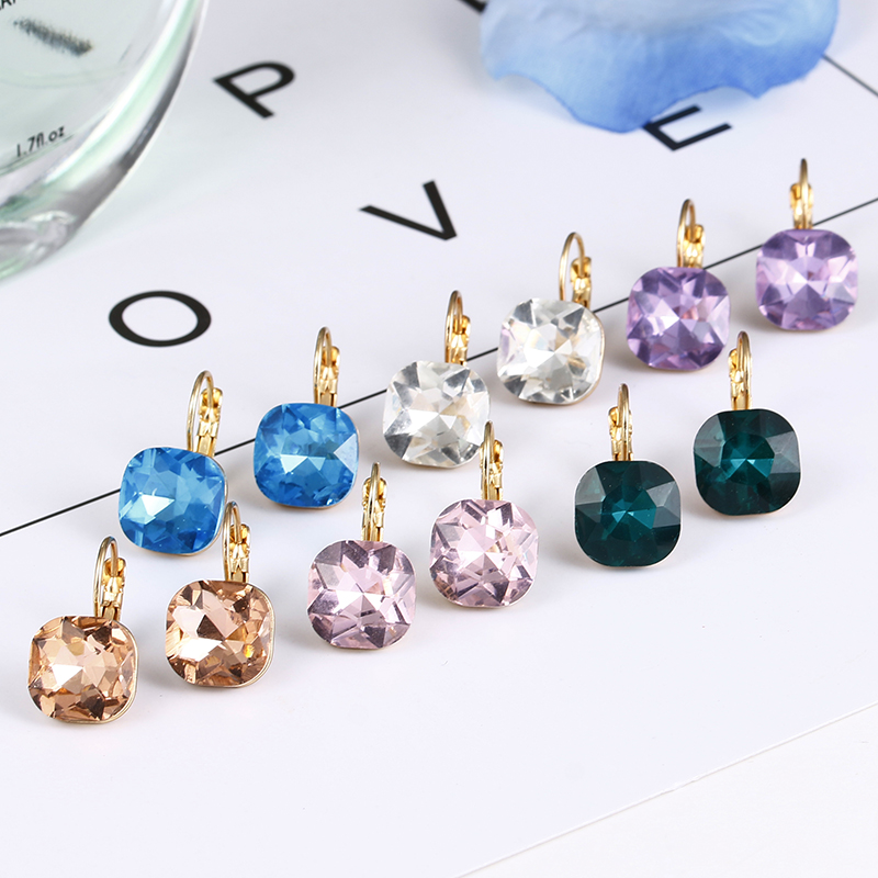 Good Quality Large Crystal Earring 2018  New Fashion Statement Stud Earrings 6 Color Available Fashion Earrings For Women E0257