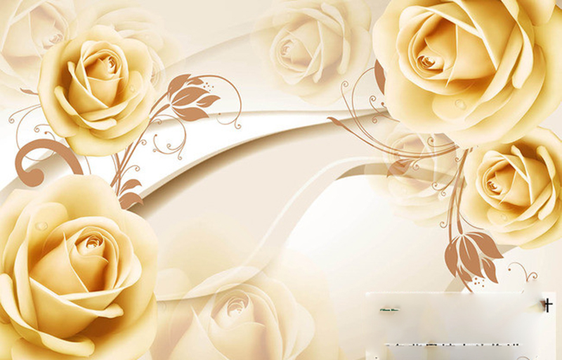 Free Shipping 3D Gold Roses TV Background Wallpaper Bedroom Living Room Dinning Coffee Shop Mural In Wallpapers From Home Improvement On