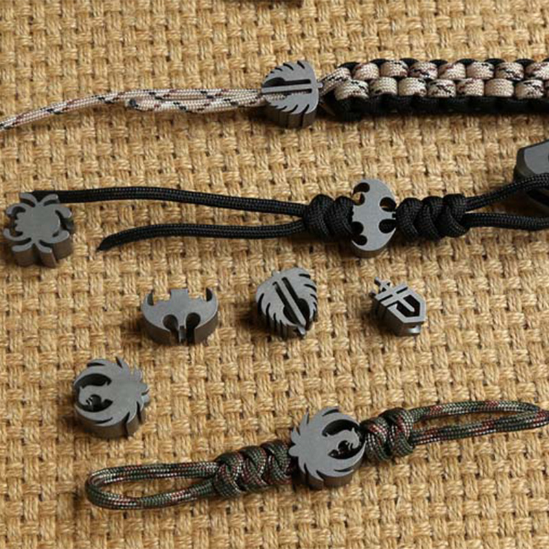 1PC Outdoor Paracord Bead Pendant DIY Charm Rope Cord Lanyard Titanium Alloy