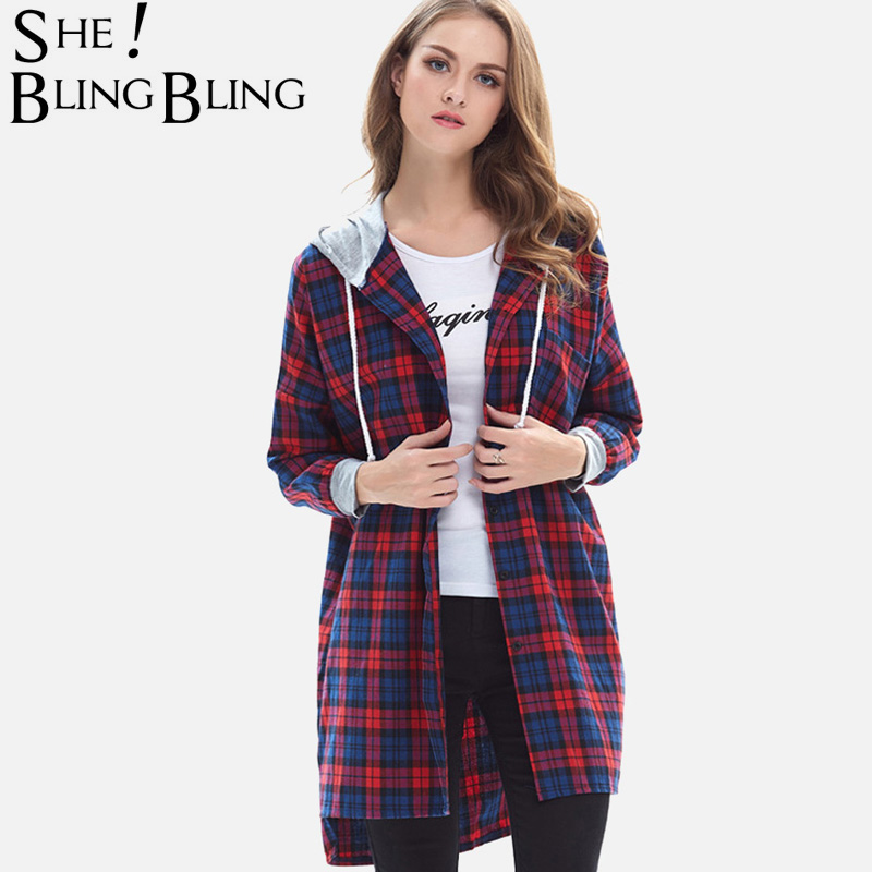 SheBlingBling 2 Colors Long Sleeve Plaid Shirts Contrast Hooded and Cuff Pocket Detail Stepped Hem Drop Shoulder Blouses Women