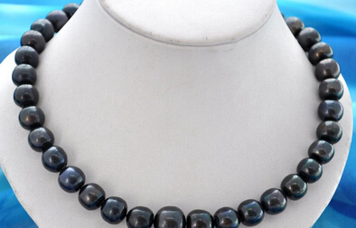 FREE SHIPPING>>>@@ AS4902 11-13MM round black freshwater pearl necklaceFREE SHIPPING>>>@@ AS4902 11-13MM round black freshwater pearl necklace