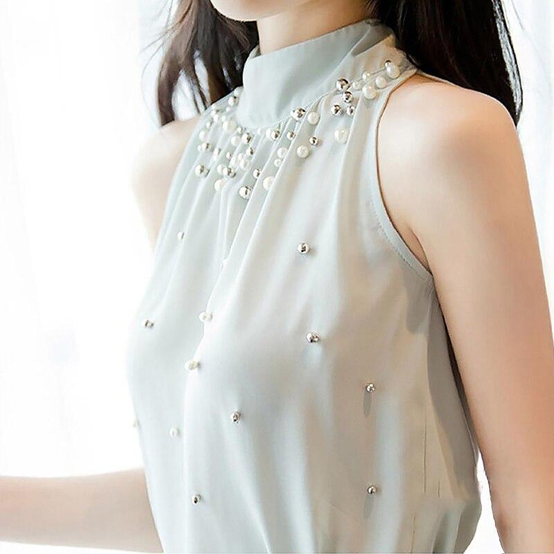 Summer Blouses Shirts Top Women Chiffon Blouse Bead Korean Sleeveless Halter Turtleneck Temperament Office Lady Elegant Shirt 2