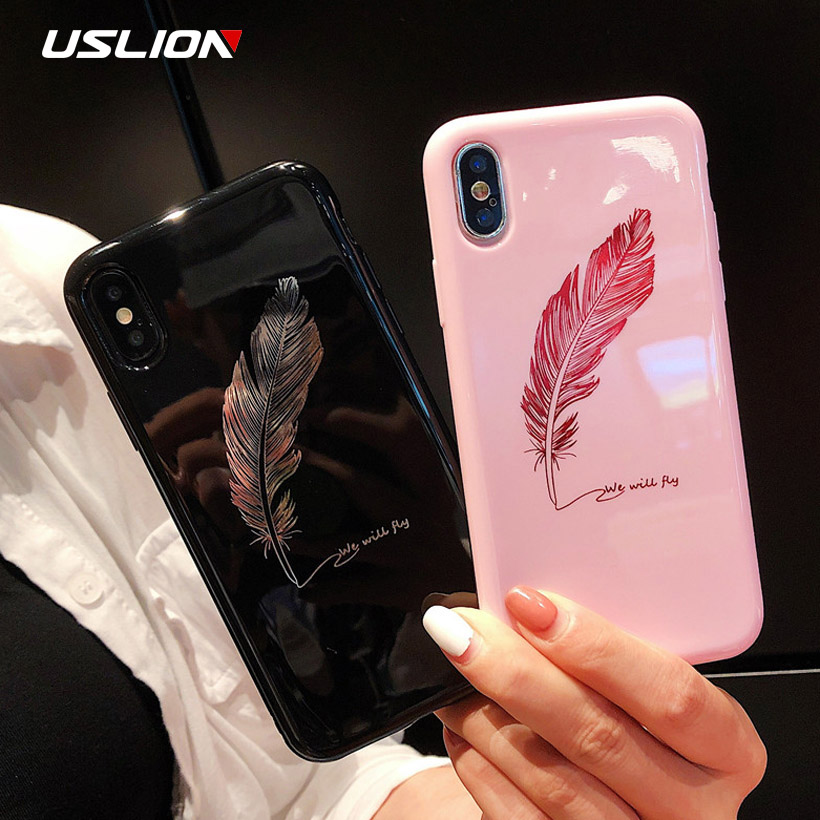 dc03e692c1 USLION Phone Case For iPhone X 8 Plus Cartoon Feather KING QUEEN Crown  Pattern Back