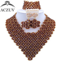 ACZUV Nigerian Wedding Beads Women African Beads Jewelry Set Brown AJ003