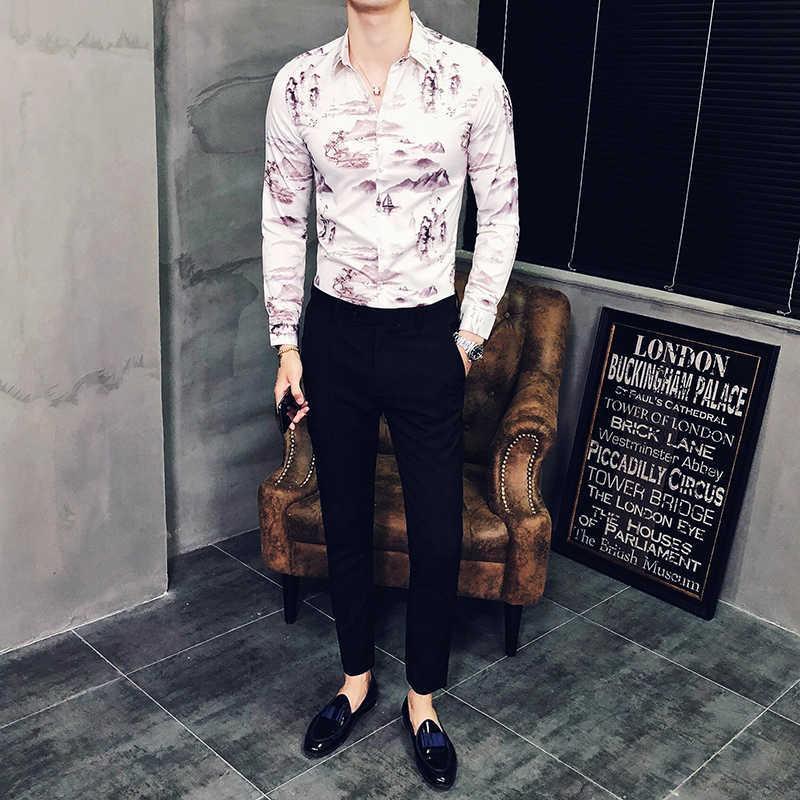 中国風の風景印刷シャツ男性カジュアルシャツファッション古典的なシャツの男性のドレスの長袖スリムブランド服